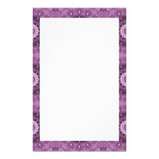 Boho Chic Abstract Kaleidoscope, Purple Border Stationery