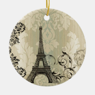 Boho Chic beige Damask Paris Eiffel Tower Round Ceramic Decoration