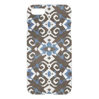 Boho chic black blue and white ikat tribal pattern iPhone 7 case
