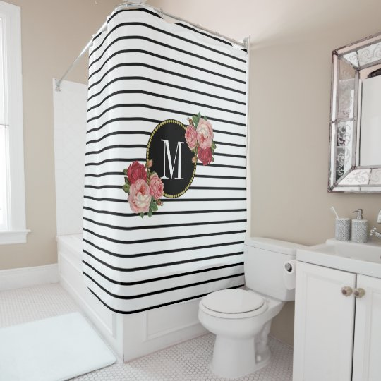 Boho Chic Black White Striped Floral Monogram Shower Curtain