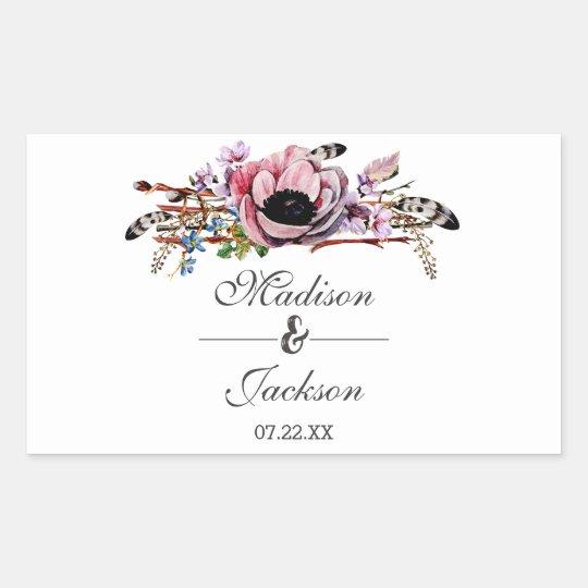 Boho Chic Blush Pink Floral Wedding Monogram Rectangular