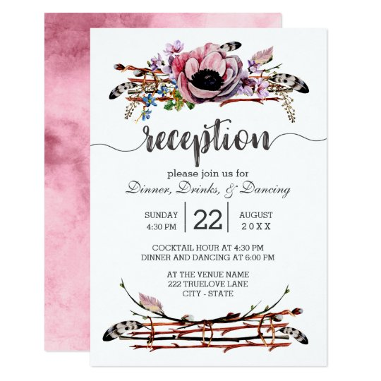 Boho Chic Blush Pink Floral Wedding Reception Card