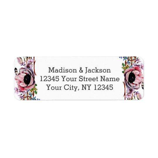 Boho Chic Blush Pink Floral Wedding Return Address