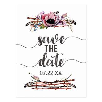 Boho Chic Blush Pink Floral Wedding Save the Date Postcard