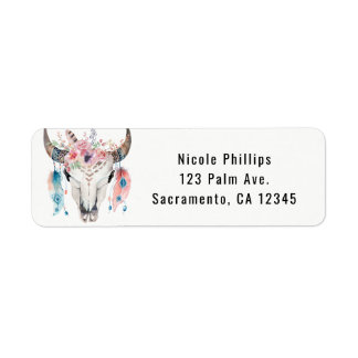 Boho Chic Bohemian Feathers & Cow Skull Invitation Return Address Label