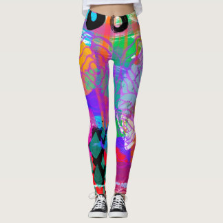 Boho Chic Bright Bold Rose Art Painting Abstract Leggings