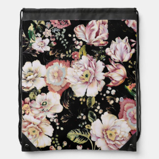 boho chic country victorian pink black floral drawstring bag