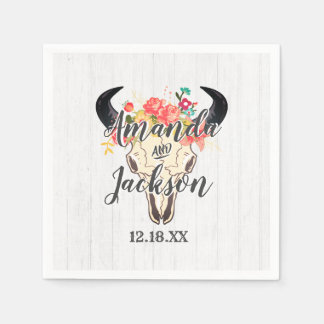 Boho Chic Cow Skull Floral Rustic Wedding Monogram Disposable Napkin