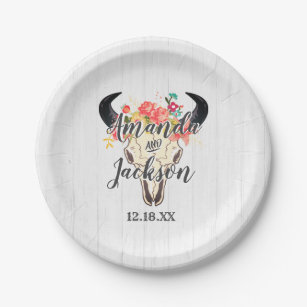 4942abffc Boho Chic Cow Skull Floral Rustic Wedding Monogram Paper Plate