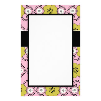 boho chic damask green pink floral design personalized stationery