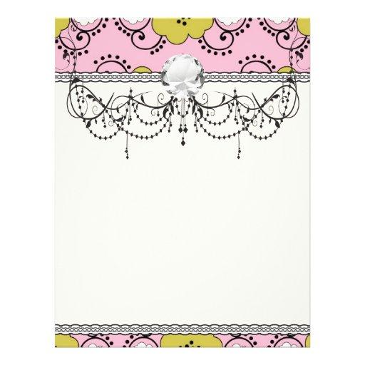boho chic damask green pink floral full color flyer