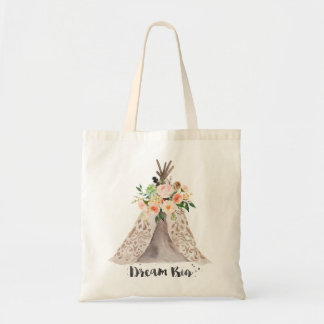 Boho Chic Dream Big Watercolor Teepee and Floral Tote Bag
