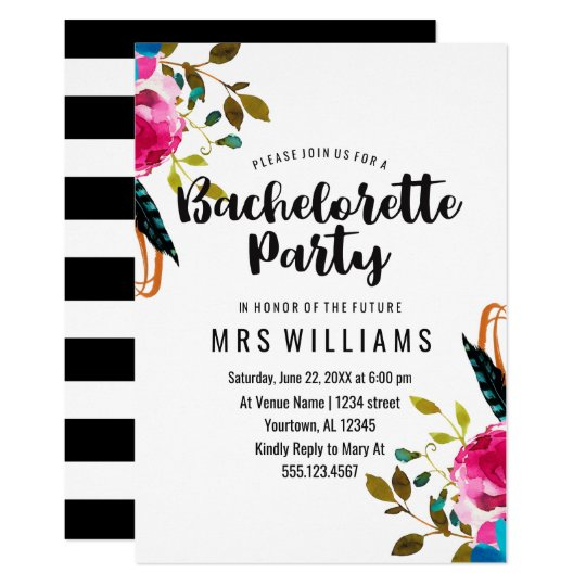 Boho Chic Floral Bachelorette Party Invitation