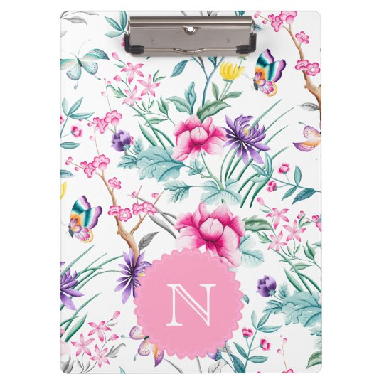 Boho Chic Floral Chinoiserie | Monogram Clipboard