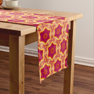 Boho Chic Floral Flowers Pattern Magenta and Gold Long Table Runner