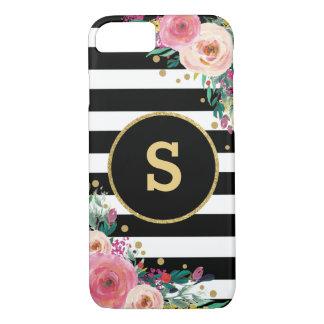 Boho Chic Floral Monogram Black Gold iPhone 7 Case