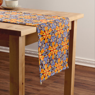 Boho Chic Floral Pattern Orange Yellow Red Purple Long Table Runner