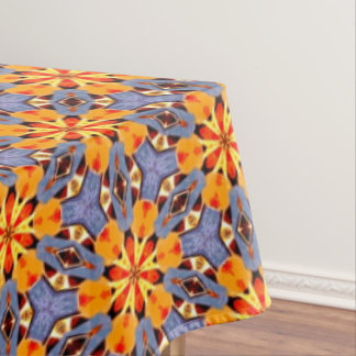 Boho Chic Floral Pattern Orange Yellow Red Purple Tablecloth