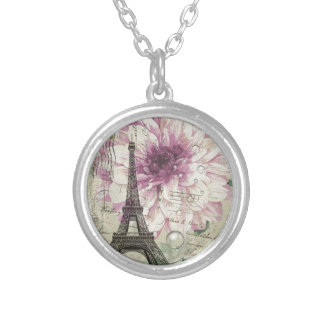 Boho Chic floral Vintage Paris Eiffel Tower Silver Plated Necklace