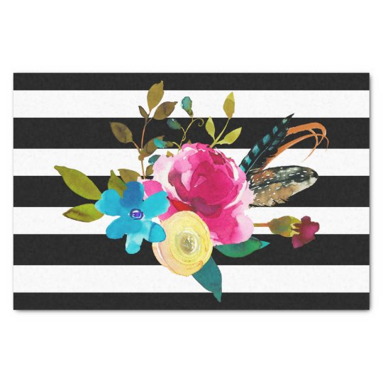 Boho Chic Floral Watercolor & Stripes Wedding Tissue