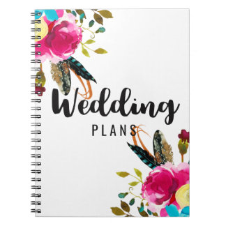 Boho Chic Floral Watercolor Wedding Planner Note Book