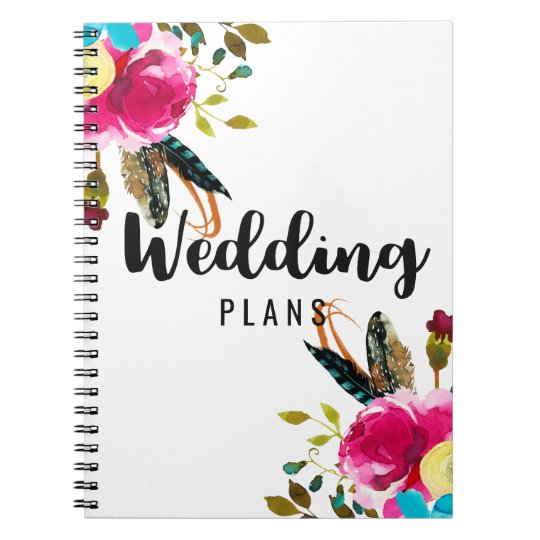 Boho Chic Floral Watercolor Wedding Planner Notebook