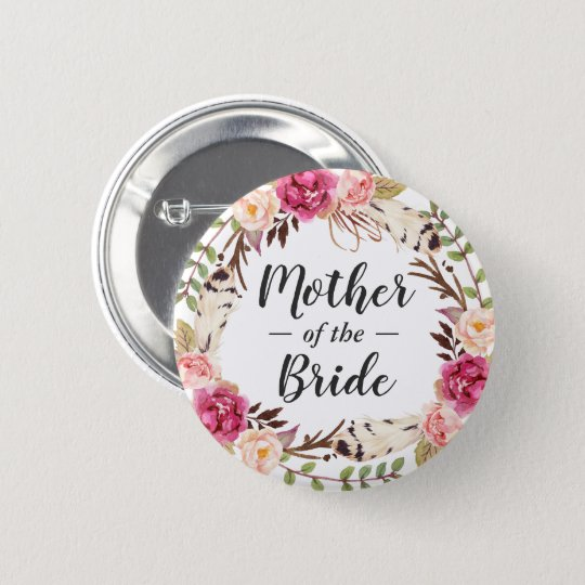 Boho Chic Floral Wreath Mother of the Bride Groom 6 Cm Round Badge
