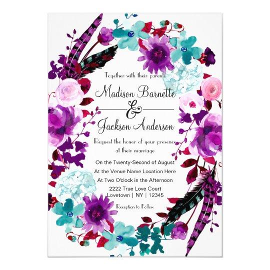 Boho Chic Floral Wreath Purple Wedding Invitation