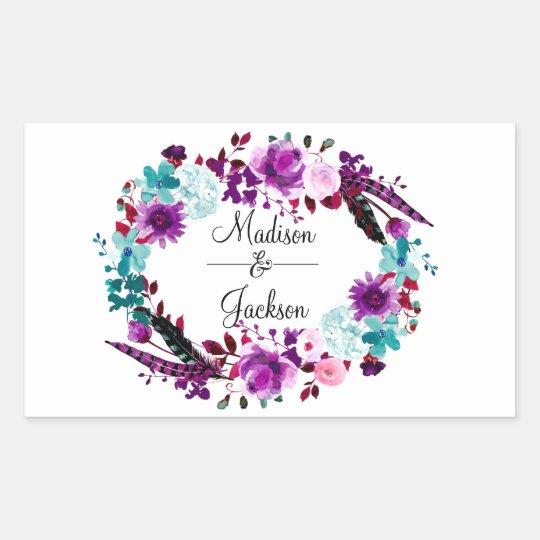 Boho Chic Floral Wreath Purple Wedding Monogram Rectangular