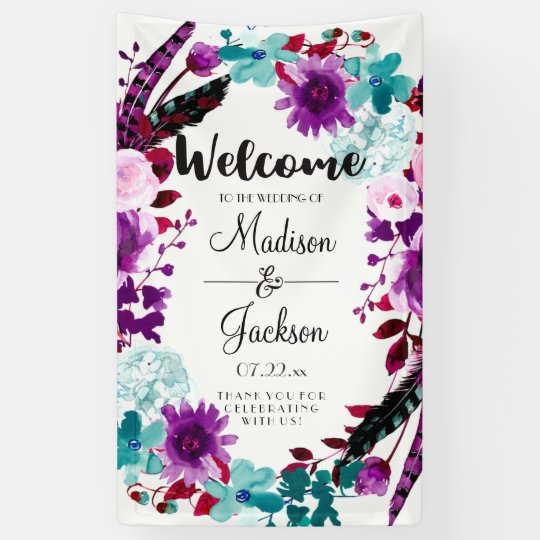 Boho Chic Floral Wreath Purple Wedding Welcome Banner