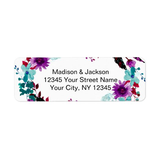 Boho Chic Floral Wreath Wedding Return Address