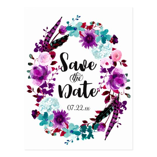 Boho Chic Floral Wreath Wedding Save the Date