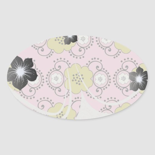 boho chic flower mod damask sticker