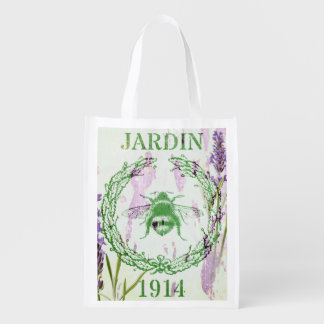 boho chic french country lavender vintage bee reusable grocery bag