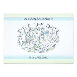 BOHO Chic Garden Wedding Save the Date Blue 13 Cm X 18 Cm Invitation Card