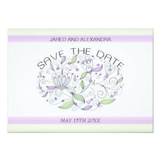 BOHO Chic Garden Wedding Save the Date Purple 13 Cm X 18 Cm Invitation Card