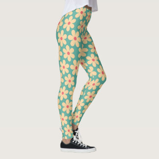 Boho Chic Hippie Happy Daisy Motif Leggings