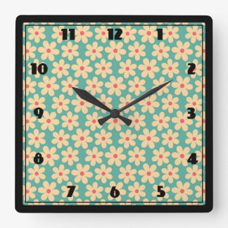 Boho Chic Hippie Happy Daisy Square Wall Clock