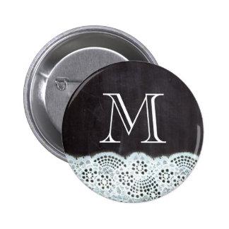 boho chic lace girly french chalkboard monograms 6 cm round badge