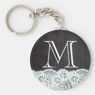 boho chic lace girly french chalkboard monograms basic round button key ring