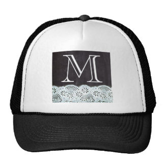 boho chic lace girly french chalkboard monograms cap