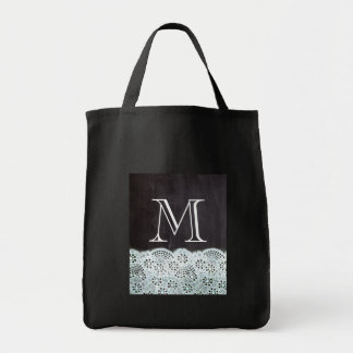 boho chic lace girly french chalkboard monograms grocery tote bag