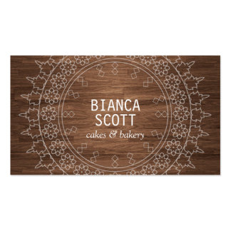 Boho Chic Mandala on Dark Wood Pack Of Standard Business Cards