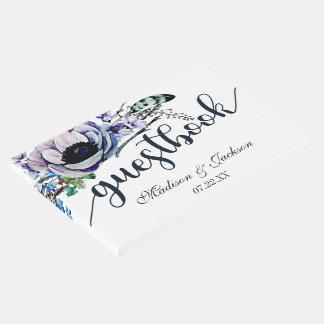 Boho Chic Mint & Navy Floral Wedding Monogram Guest Book