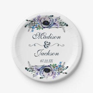 Boho Chic Mint & Navy Floral Wedding Monogram Paper Plate