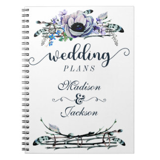 Boho Chic Mint & Navy Floral Wedding Planner Spiral Notebook