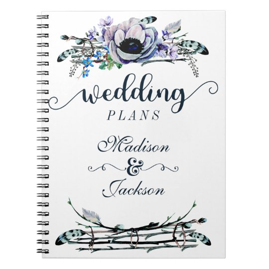 Boho Chic Mint & Navy Floral Wedding Planner