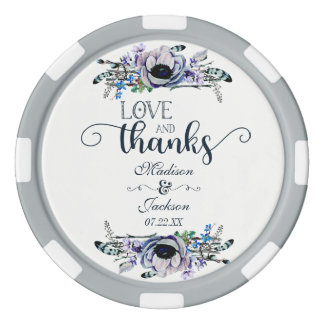 Boho Chic Mint & Navy Floral Wedding Thank You Poker Chips