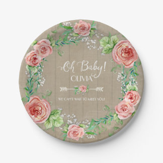 BOHO Chic Oh Baby Girl Shower Wood Watercolor 7 Inch Paper Plate
