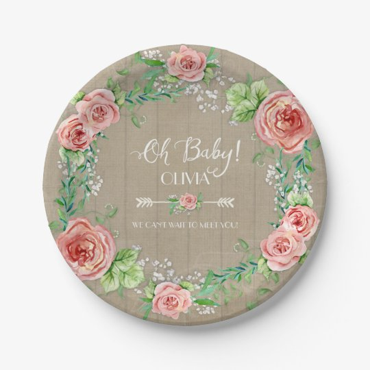 BOHO Chic Oh Baby Girl Shower Wood Watercolor